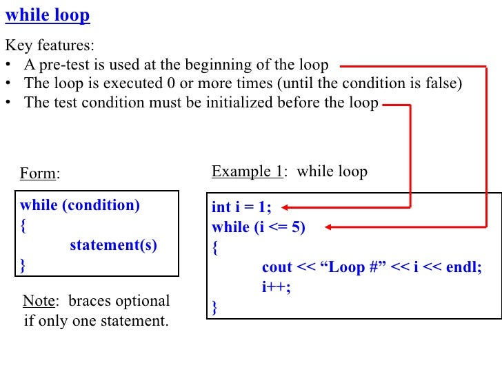 while loop Key features: • A pre-test is used at the beginning of the loop • The loop is executed 0 or more times (until t...