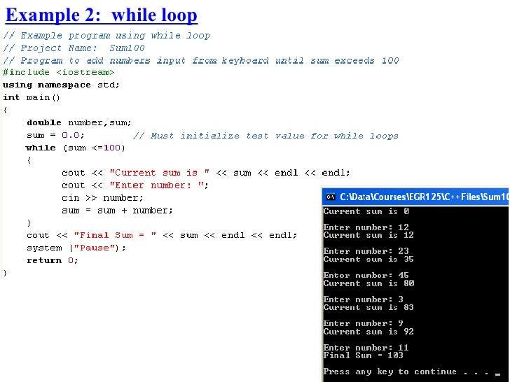 Example 2: while loop