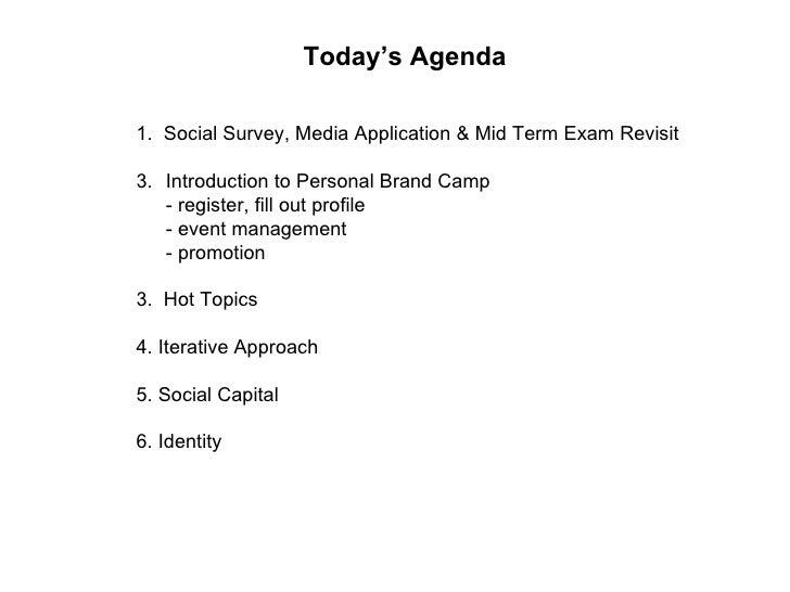 Today's Agenda <ul><li>1.  Social Survey, Media Application & Mid Term Exam Revisit </li></ul><ul><li>Introduction to Pers...