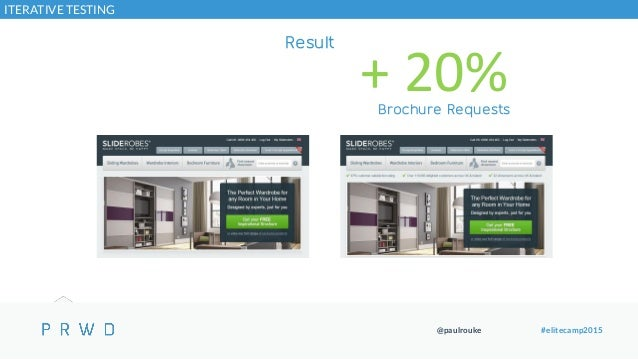 @paulrouke #elitecamp2015 Result + 20%Brochure Requests CONSISTENTLY COMMUNICATE HOW GOOD YOU ARE ITERATIVE TESTING
