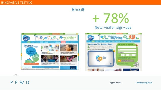 @paulrouke #elitecamp2015 Result + 78%New visitor sign-ups BE BOLD & PROVIDE EARLY & EASY OPPORTUNITIES TO CONVERT INNOVAT...