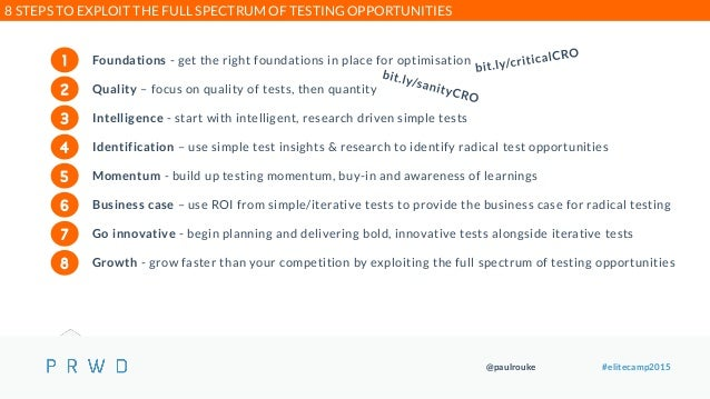 @paulrouke #elitecamp2015 Foundations - get the right foundations in place for optimisation Quality – focus on quality of ...