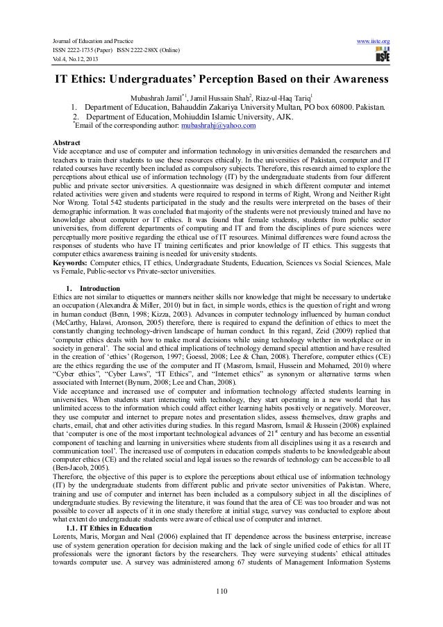Journal of Education and Practice www.iiste.org ISSN 2222-1735 (Paper) ISSN 2222-288X (Online) Vol.4, No.12, 2013 110 IT E...