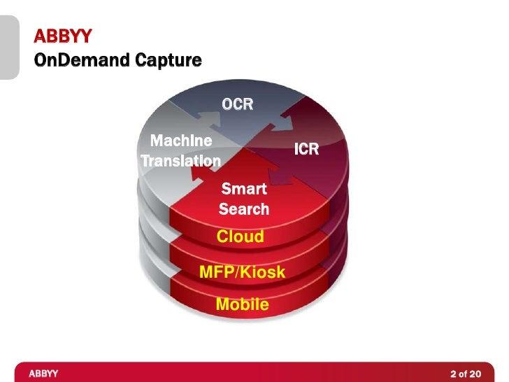 ABBYYOnDemand Capture                        OCR           Machine                              ICR          Translation  ...