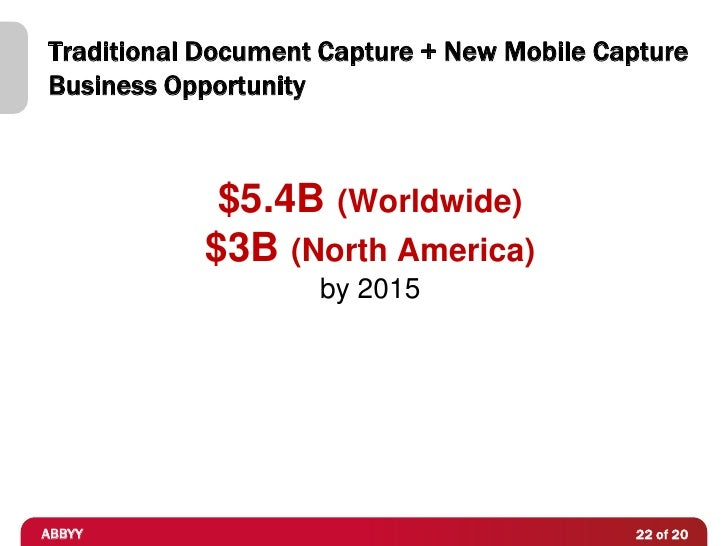Traditional Document Capture + New Mobile CaptureBusiness Opportunity             $5.4B (Worldwide)            $3B (North ...
