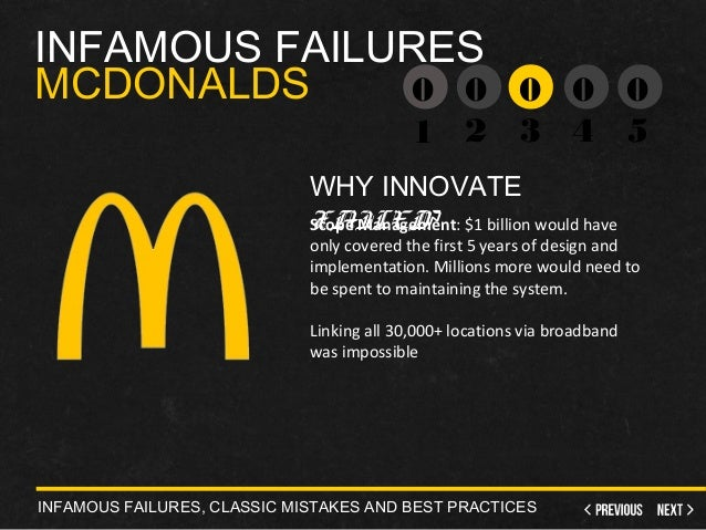 "mcdonalds innovate project As chairman, president, and ceo bob mcdonald notes, ""we know from our  history that while  ""people will innovate for financial gain or for competitive  advantage, but this can be  teach senior management and project team  members."