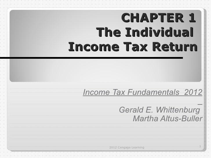 CHAPTER 1    The IndividualIncome Tax Return  Income Tax Fundamentals 2012             Gerald E. Whittenburg              ...