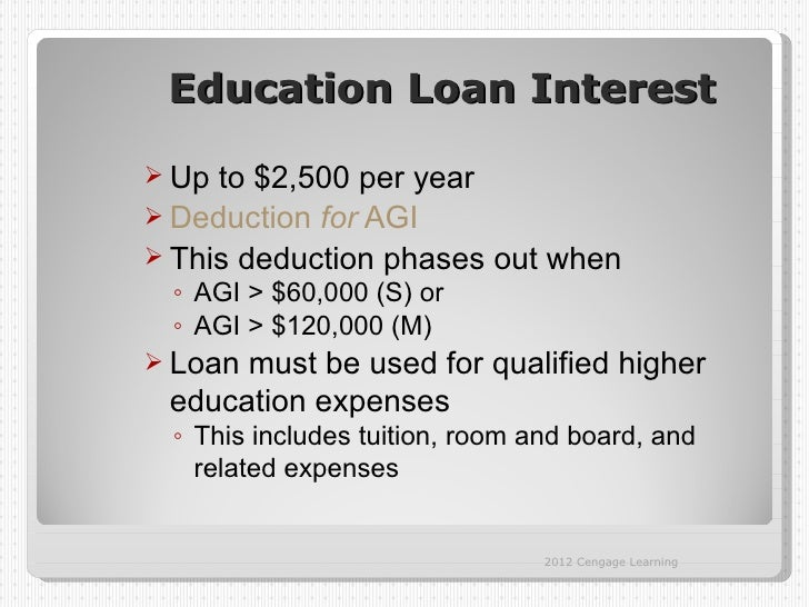 Education Loan Interest Up to $2,500 per year Deduction for AGI This deduction phases out when ◦ AGI > $60,000 (S) or ◦...
