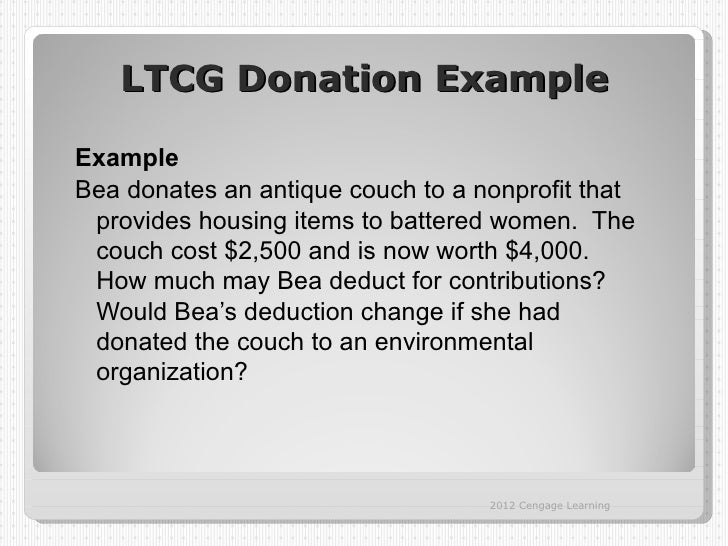 LTCG Donation ExampleExampleBea donates an antique couch to a nonprofit that provides housing items to battered women. The...