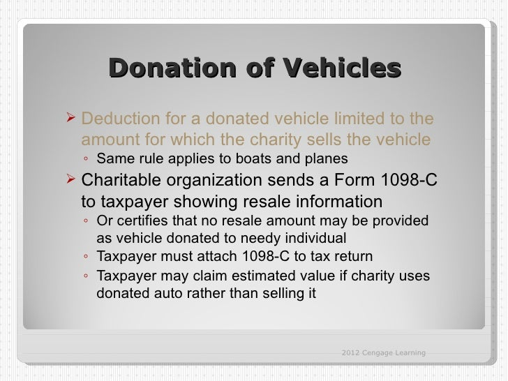 Donation of Vehicles   Deduction for a donated vehicle limited to the    amount for which the charity sells the vehicle  ...