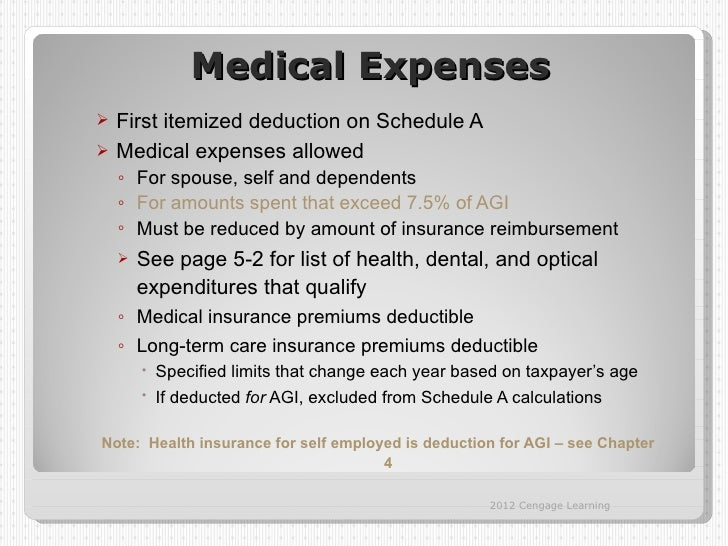 Medical Expenses First itemized deduction on Schedule A Medical expenses allowed    ◦ For spouse, self and dependents   ...