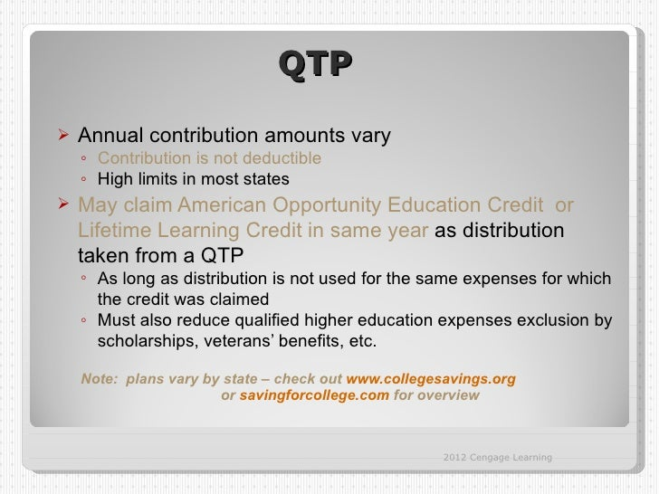 QTP   Annual contribution amounts vary    ◦ Contribution is not deductible    ◦ High limits in most states   May claim A...