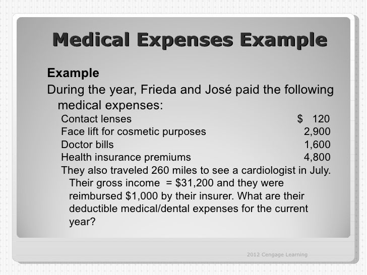 Medical Expenses ExampleExampleDuring the year, Frieda and José paid the following medical expenses:  Contact lenses      ...
