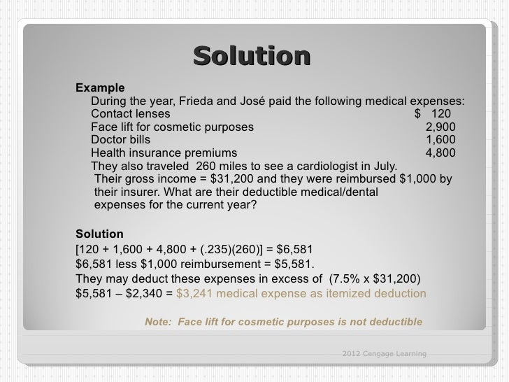 SolutionExample  During the year, Frieda and José paid the following medical expenses:  Contact lenses                    ...