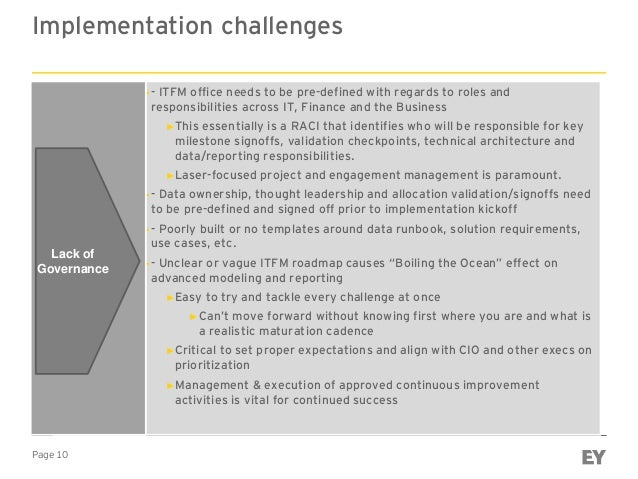 Page 10 Implementation challenges ►- ITFM office needs to be pre-defined with regards to roles and responsibilities across...