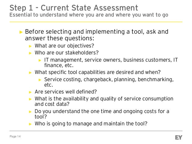 Page 14 Step 1 - Current State Assessment Essential to understand where you are and where you want to go ► Before selectin...