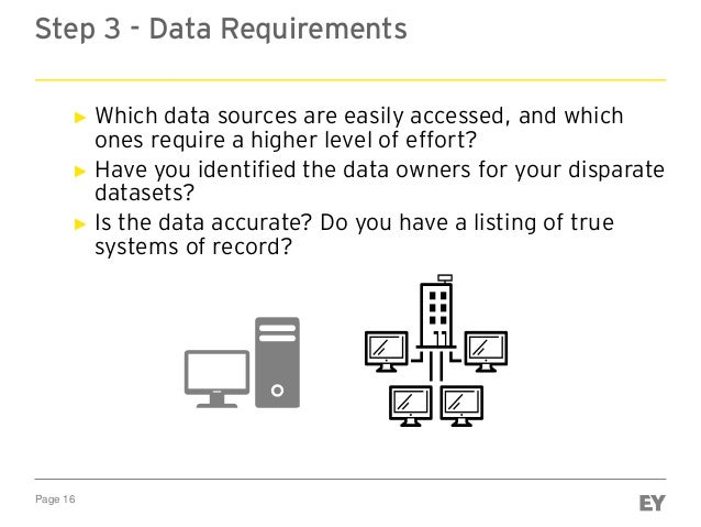 Page 16 Step 3 - Data Requirements ► Which data sources are easily accessed, and which ones require a higher level of effo...