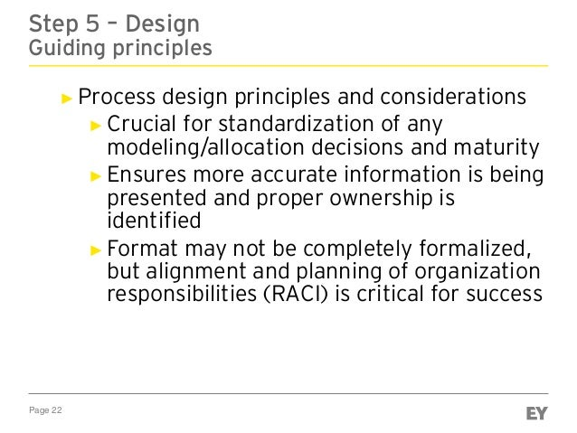 Page 22 Step 5 – Design Guiding principles ► Process design principles and considerations ► Crucial for standardization of...