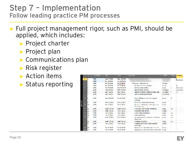 Page 29 Step 7 – Implementation Follow leading practice PM processes ► Full project management rigor, such as PMI, should ...