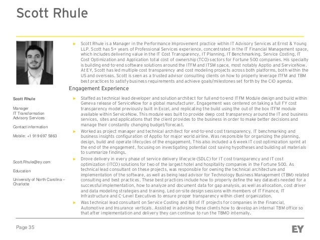 Page 35 Scott Rhule Scott Rhule Manager IT Transformation Advisory Services Contact information Mobile: +1 919 697 5863 Sc...