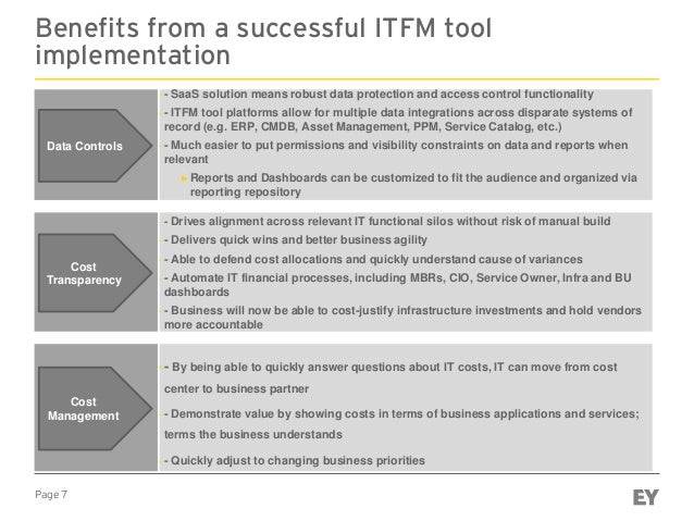 Page 7 Benefits from a successful ITFM tool implementation ► - SaaS solution means robust data protection and access contr...