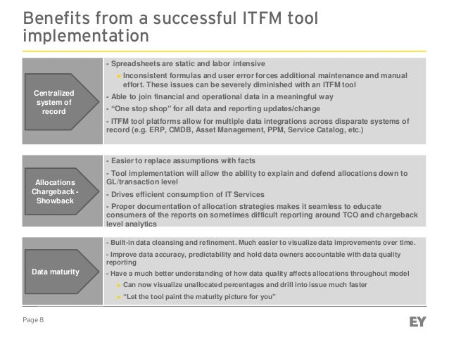 Page 8 Benefits from a successful ITFM tool implementation ► - Spreadsheets are static and labor intensive ► Inconsistent ...