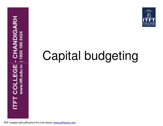 Capital budgeting PDF created with pdfFactory Pro trial version www.pdffactory.com