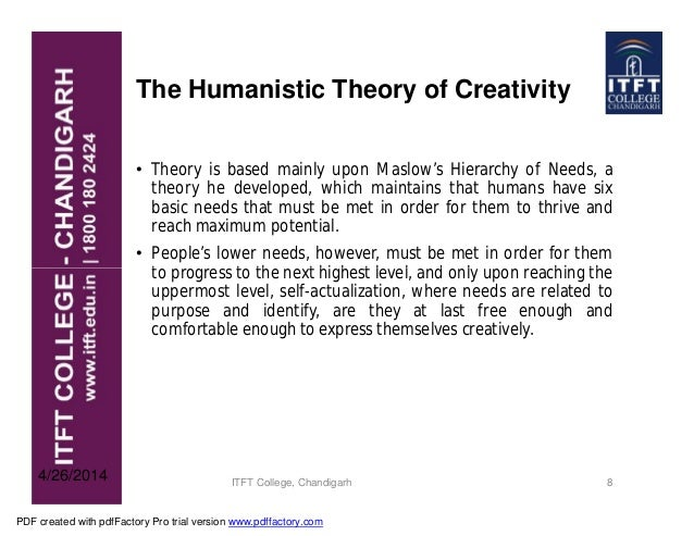 humanistic theory of creativity Humanistic psychology acknowledges a spiritual drive as part of the human psyche humanistic psychology theory first emerged in the express their creativity.