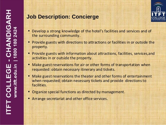 ITFT front office introduction – Concierge Job Description
