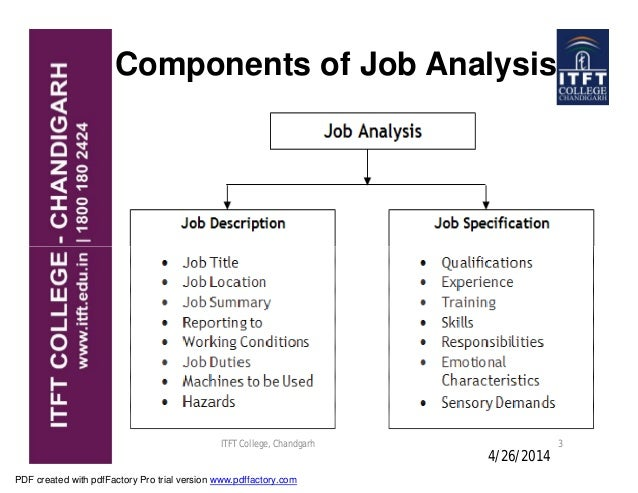 define the elements of job analysis A job analysis is essential to find and place the right employees at the right places at the right times this analysis is used to define the qualifications.