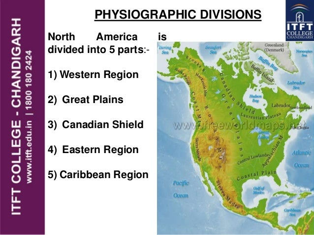 ITFT America Physical Features - North america continent map physical