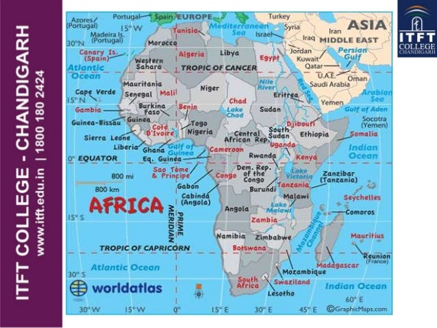 ITFT continents and oceans of world