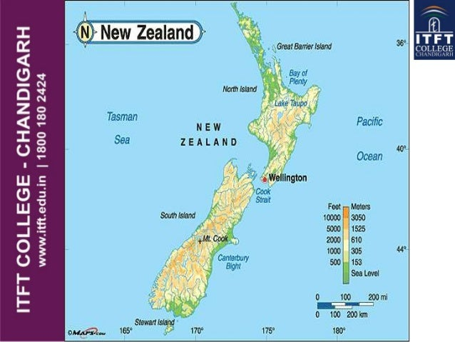 Physical Features Map Of New Zealand.Itft New Zealand Physical Features