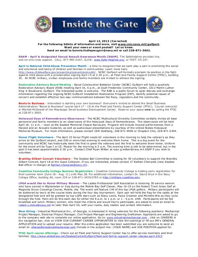 April 12, 2013 (Corrected)               For the following tidbits of information and more, visit www.cnic.navy.mil/gulfpo...