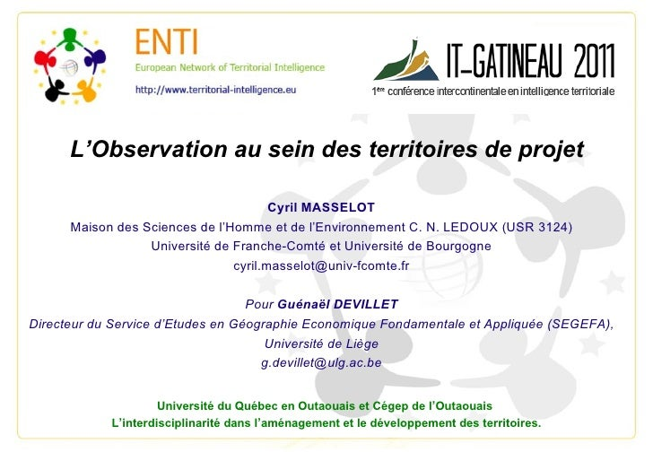 L'Observation au sein des territoires de projet Cyril MASSELOT Maison des Sciences de l'Homme et de l'Environnement C. N. ...