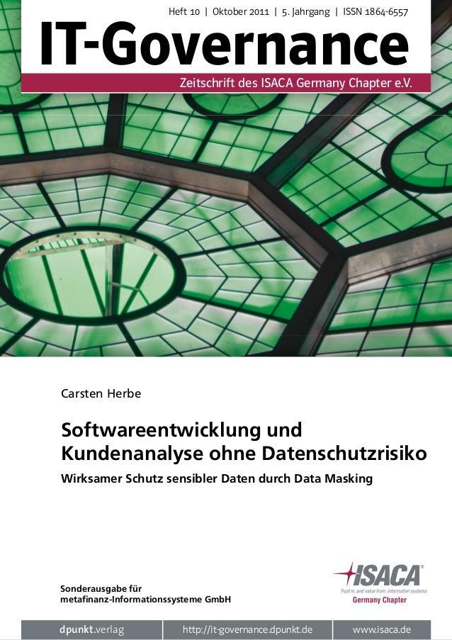 Heft 10 | Oktober 2011 | 5. Jahrgang | ISSN 1864-6557IT-Governance           Zeitschrift des ISACA Germany Chapter e.V.Car...