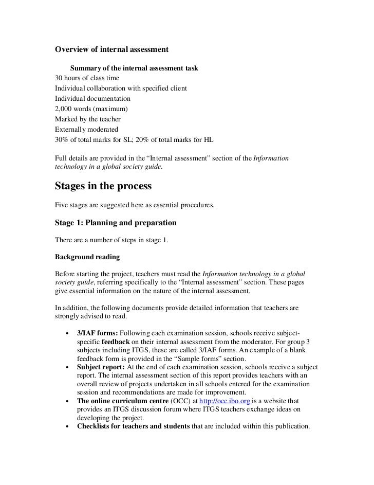 Itgs internal assessment guide project