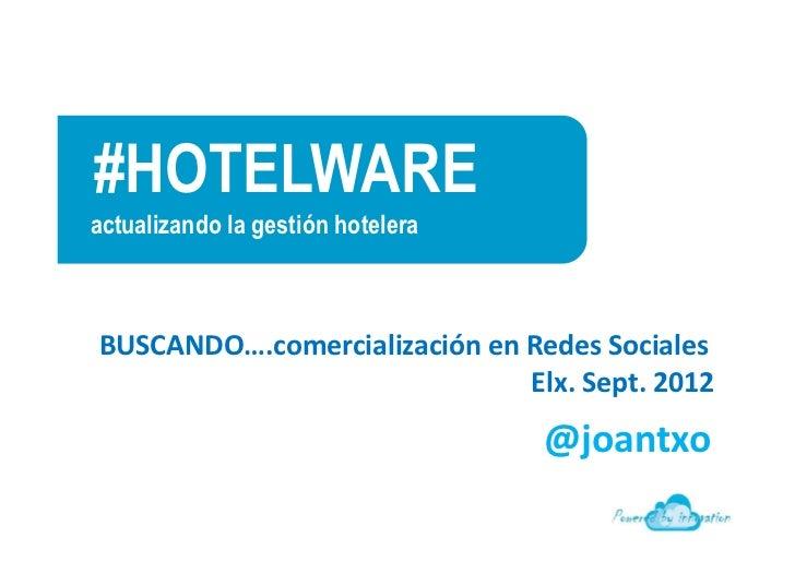 #HOTELWAREactualizando la gestión hoteleraFabián GonzálezITH  BUSCANDO….comercialización en Redes Sociales                ...