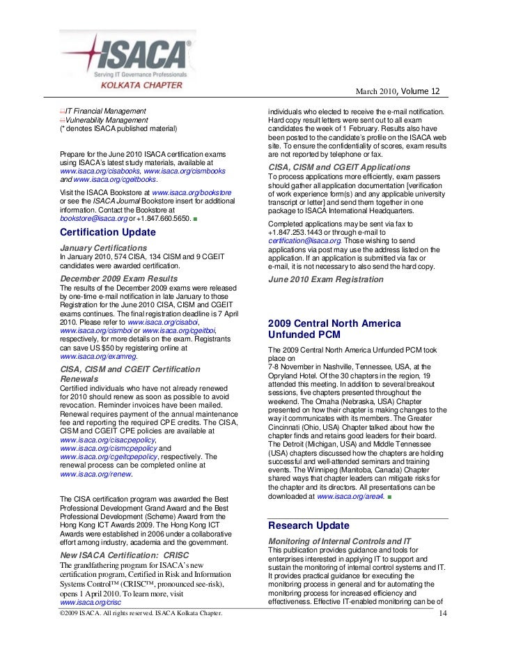 Isaca Kolkata Newsletter March 2010