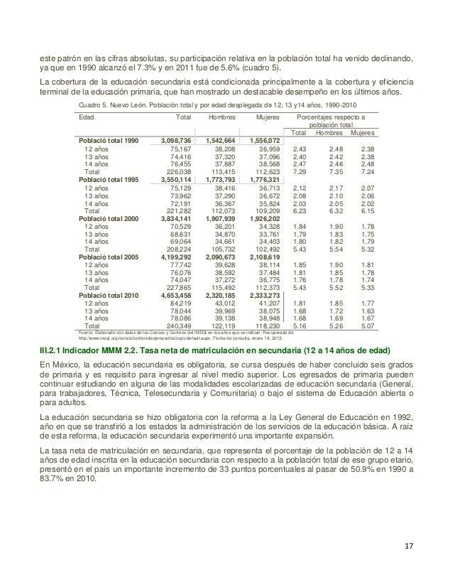 18 Gráfica 11. Tasa neta de matriculación en secundaria (12 a 14 años de edad) Fuente: Elaborado con datos publicados en e...