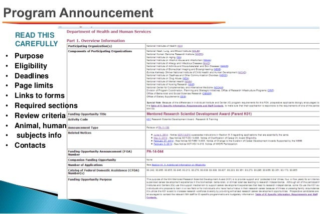 READ THIS CAREFULLY!! • Purpose • Eligibility • Deadlines • Page limits • Links to forms • Required sections • Review crit...