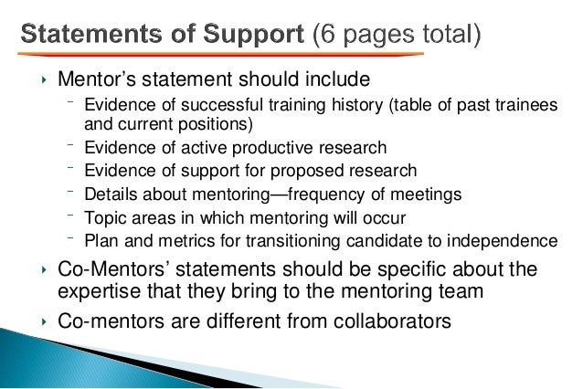 ‣ Mentor's statement should include ⁻ Evidence of successful training history (table of past trainees and current position...