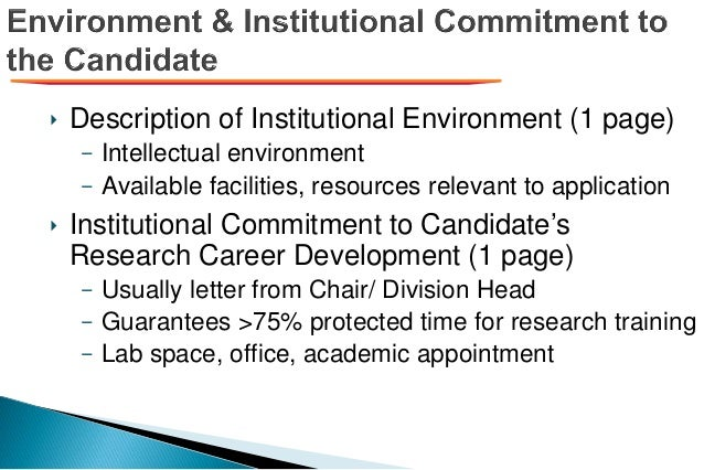 ‣ Description of Institutional Environment (1 page) – Intellectual environment – Available facilities, resources relevant ...