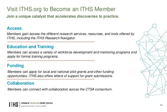 62 Visit ITHS.org to Become an ITHS Member Access Members gain access the different research services, resources, and tool...