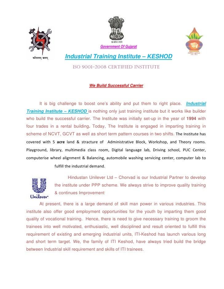 Government Of Gujarat                      Industrial Training Institute – KESHOD                          ISO 9001-2008 C...