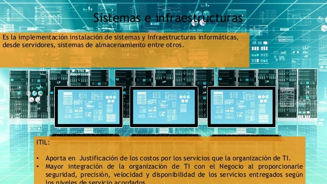 Sistemas e infraestructuras Es la implementación instalación de sistemas y Infraestructuras informáticas, desde servidores...