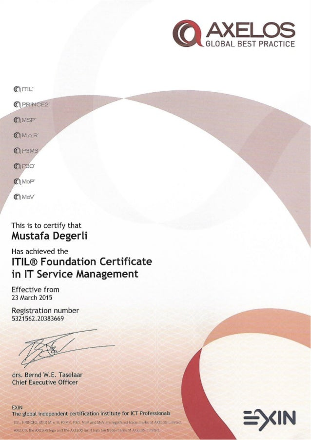 Mustafa Degerli 2015 Itil Foundation Certificate In It Service Ma