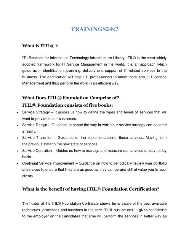 Itil Foundation Course Overview