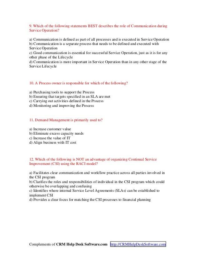 Itil V3 Foundation Certification Exam2