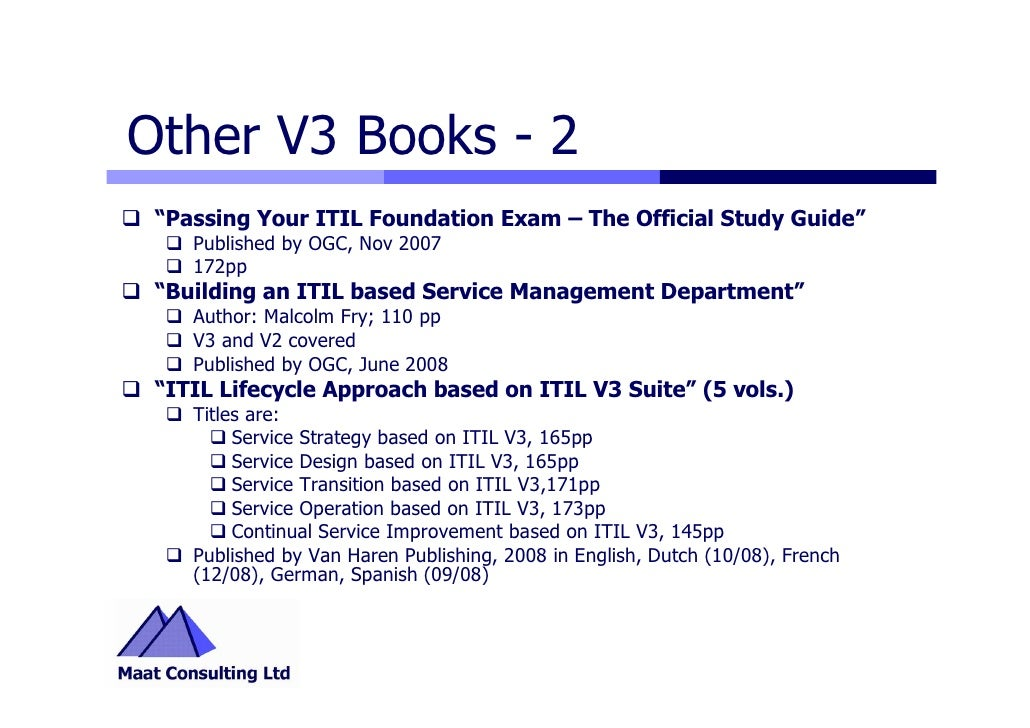 Itil v3 highlights 12 other v3 books 2 passing your itil foundation exam the official study guide fandeluxe Images